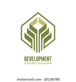 Development - vector logo template concept illustration for business company. Corporation sign. Design element.