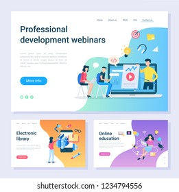 Development webinar, electronic library, online education web pages. Internet learning, programming and information digital source vector illustration