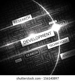 DEVELOPMENT. Word cloud illustration. Tag cloud concept collage. Vector text illustration.