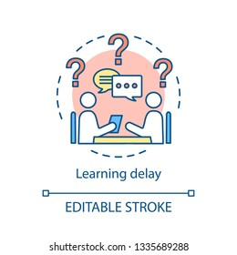 Developmental delay concept icon. Learning disability idea thin line illustration. Mental, cognitive disorders vector isolated outline drawing. Dyslexia, dyspraxia, dysphasia therapy. Editable stroke