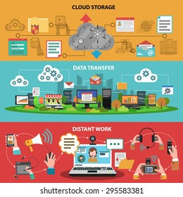 It device banner horizontal set with cloud storage data transfer distant work isolated vector illustration