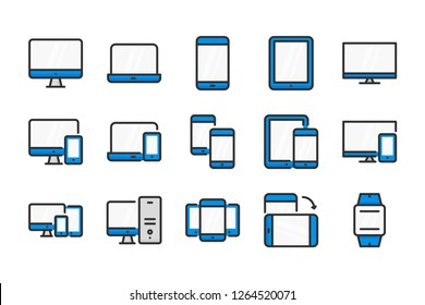 Device color line icons. Сomputer technology and mobile devices vector linear colorful icon set. Isolated icon collection on white background.