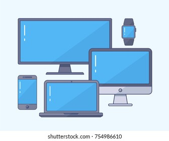 Device flat icons set: smartphone, laptop, TV,  PC, computer screen, smart watch. Vector template for responsive design presentation.