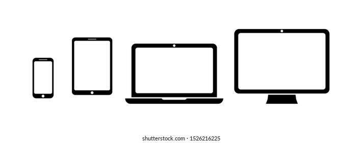 Device icon set in flat style. Collection of symbols: smartphone, tablet, laptop and desktop computer. Digital device collection isolated on white. Vector illustration for web site, mobile application