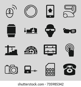 Device icons set. set of 16 device filled and outline icons such as laptop connection, vice clamp, heartbeat, touchscreen, mri, desk phone, camera lens, construction  crane