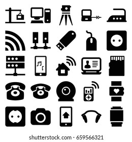 Device icons set. set of 25 device filled icons such as laptop connection, plug socket, iron, mouse, laptop, theodolite, wi-fi, desk phone, flash drive, mobile phone music