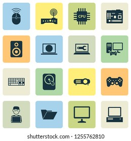 Device icons set with keyboard, motherboard, hard disk and other dossier elements. Isolated vector illustration device icons.