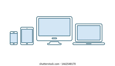 Device icons set. Laptop, computer, desktop pc, tablet, smartphone. Office and home digital gadget. Black symbol for web design. Isolated vector illustratin in white background. Flat style.