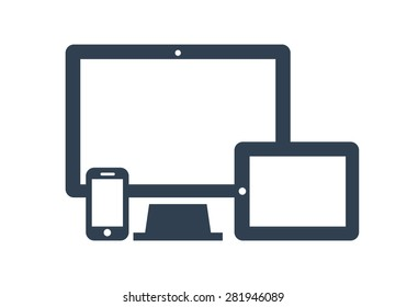 Device Icons: smart phone, tablet and desktop computer. Vector illustration of responsive web design.