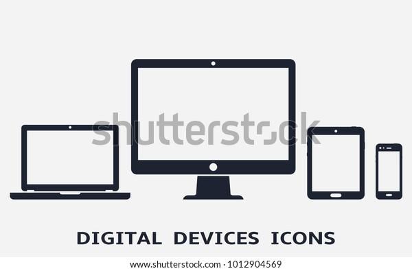 Device icons: smart phone, tablet, laptop and desktop computer. Vector illustration of responsive web design.