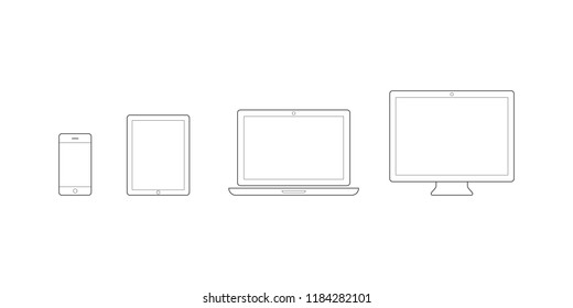 Device Icons: smartphone, tablet, laptop and desktop computer. Vector illustration, flat design