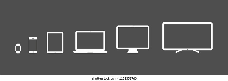 Device Icons: smartwatch, smartphone, tablet, laptop, desktop computer and tv. Black background. Vector illustration, flat design
