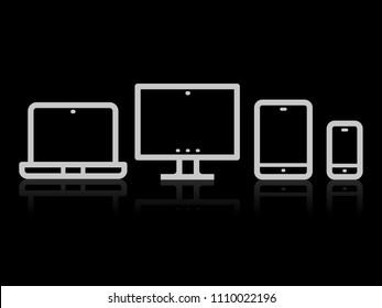 Device Icons vector illustration of responsive design for presentation on black background