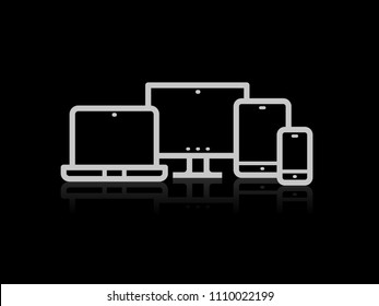 Device Icons vector illustration of responsive design for presentation on black background