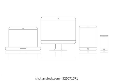 Device Icons vector illustration of responsive design for presentation