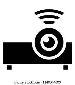 Device with lense and wifi signals depicting wireless protector icon