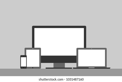 Device mockup template. Set of computer monitor, computer, laptop, phone, tablet background. Flat vector illustration.