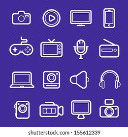 device and multimedia symbol line icon on violet background vector illustration