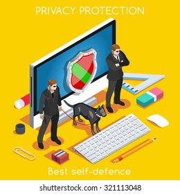 Device Online Protection 3D Flat Isometric Vector Set. Privacy Protection Antivirus hack Data Security man Cryptography Firewall Smartphone Laptop Encrypted Cloud Safety Internet Security Infographic