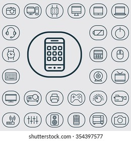 device outline, thin, flat, digital icon set for web and mobile