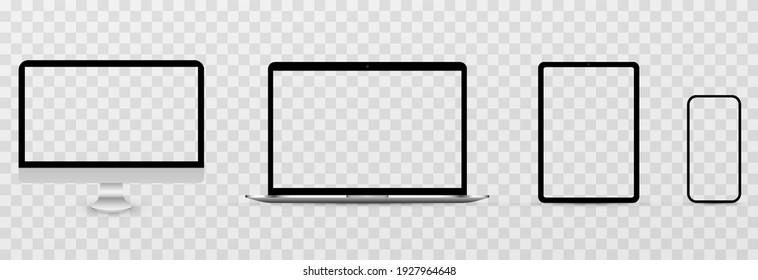 Device screen layout. Mockup of phone, tablet, computer, monitor with blank screen. Blank screen for text or design. PNG.