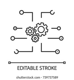 Device settings linear icon. Cogwheels system. Cyberspace. Thin line illustration. Computing. Contour symbol. Vector isolated outline drawing. Editable stroke