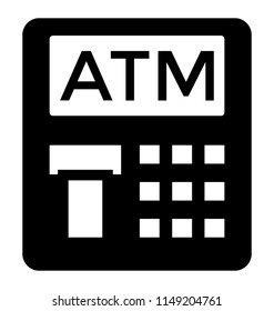 Device with some buttons and place to insert and exert plastic cards baptized with A T M, icon for atm