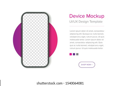 Device UI/UX mockup for presentation template. Smarphone isolated blank screen vector