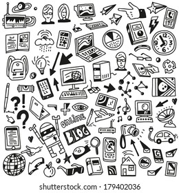 Devices , computers, technology - doodles set