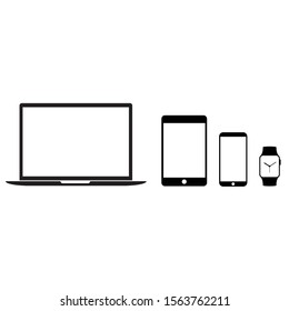 Devices digital icons. Monitor, phone and watch. Flat Design