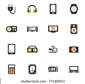 Devices orange vector icons for user interface design