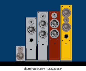 Devices for quality sound. Acustic systems. High-end sound speakers. Vector image for illustrations.