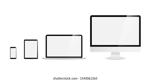 Devices in realistic trendy design on white background. Set of computer laptop tablet and smartphone with empty screens. Mock up. Blank screen isolated. EPS 10
