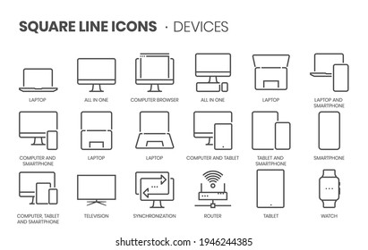 Devices, square line icon set. The illustrations are a vector, editable stroke, thirty-two by thirty-two matrix grid, pixel perfect files.
