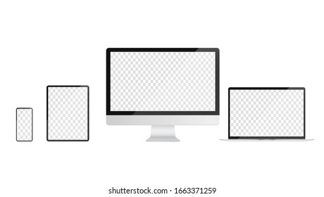 Devices with transparent screen template. Realistic vector illustrations of smartphone, tablet, desktop and laptop. For use in mockups.