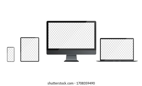 Devices with transparent screen template. Realistic vector illustrations of smartphone, tablet, desktop and laptop in dark grey colours. For use in mockups and presentations.