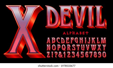 Devil alphabet: A red and purple serif font with 3d and shiny gradient effects. Appropriate for Halloween, Goth, Satanic themes, costume packaging, movie and game graphics, etc.