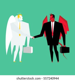 Devil and angel business deal. Satan and God handshake. Archangel and demon businessman