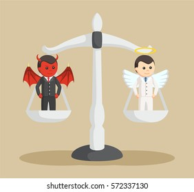 devil and angel businessman on balancing scale