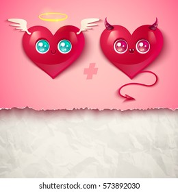 Devil and angel hearts on white old paper. Two hearts for Valentines day in kawaii style.