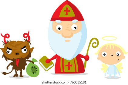 devil angel saint nicolas isolated on white - vector illustration