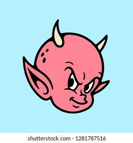 DEVIL BABY HEAD COLOR BLUE BACKGROUND