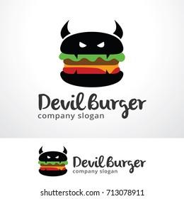 Devil Burger Logo Template Design Vector, Emblem, Design Concept, Creative Symbol, Icon