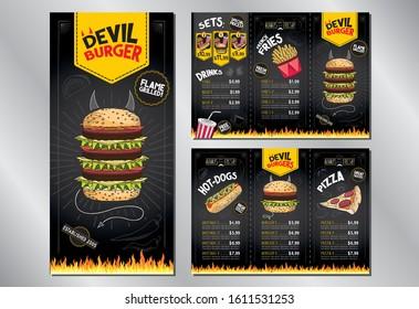 Devil burger - restaurant menu card/ template - 3 x DL (99x210 mm)