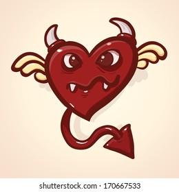 Devil cartoon heart