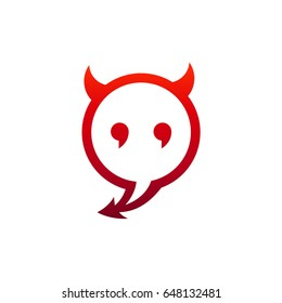 Devil Chatting Logo Template. Bubble Chat With Devil Face and Tail Shape
