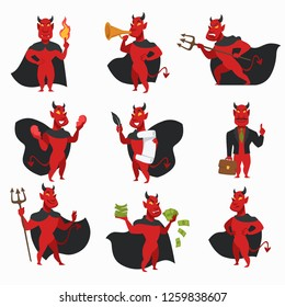 Devil in cloak with horns and tail red skin demon isolated icons fire or flame and trumpet trident and broken heart contract with feather and office suit with briefcase money creature from hell vector