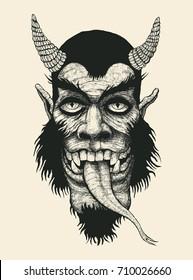 Devil. Comic character. Eyes, teeth, snake tongue on a dark silhouette. Design T-shirt. vector illustration.