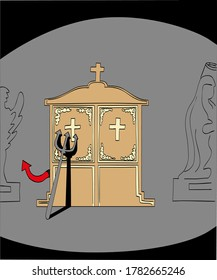 Devil confessing inside the confessional of a church. Humorous cartoon style vector illustration.