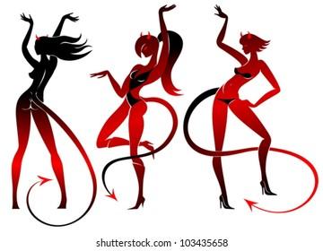 Devil dancing girls silhouettes set